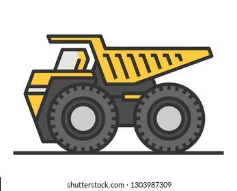 Yellow dump truck icon