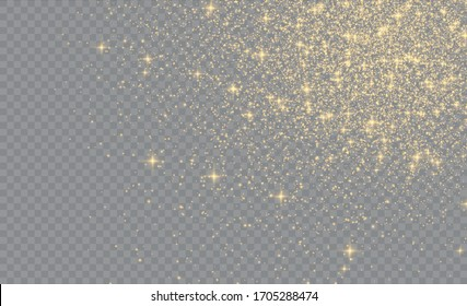 Yellow dust yellow sparks and golden stars shine with special light.Sparkling magic dust particles.Christmas Abstract stylish light effect on a transparent background.Christmas abstract vector pattern