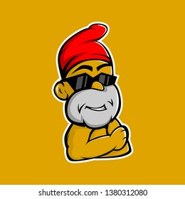 yellow dwarf mascot wearing a red hat and black sunglasses