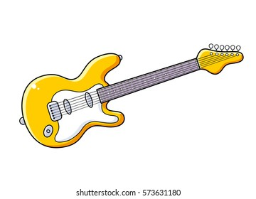 Yellow electric guitar vector isolated.