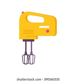 Yellow electric mixer, flat, vector