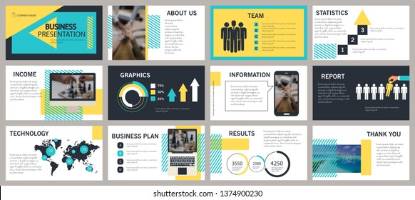 Yellow elements on a white background. This template is the best as a business presentation, used in marketing and advertising, the annual report, flyer and banner