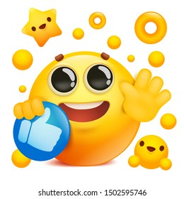yellow emoji 3d smile face cartoon character holding social network thumbs up icon. Vector illustration
