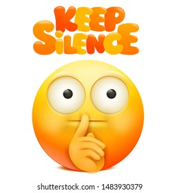 Yellow emoji cartoon character with finger near the mouth. Keep silence sign. Vector illustration
