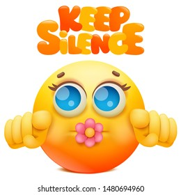 Yellow emoji cartoon character with flower in mouth. Keep silence sign. Vector illustration