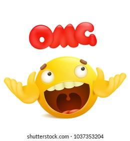 Yellow emoji cartoon character. Omg surprise concept. Vector illustration