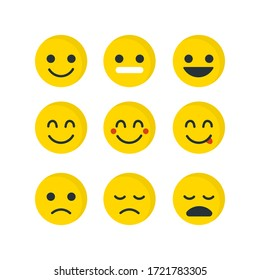 Yellow Emoji face set. Concept for World Smile Day smiling card or banner. Emoticons icons Vector illustration.