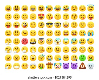 Yellow emoji faces. Happy smile emoticon, sad crying face and funny laughing LMAO emoji. 88 facial expressions and emoticons vector icons set