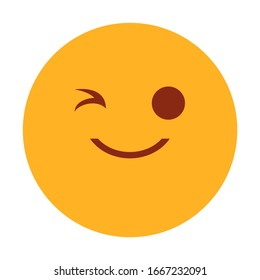 Yellow emoji winking vector isolated. Symbol for internet chat. Emotion expression, cheerful character.