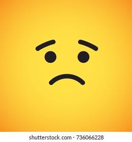 Yellow emoticon face, sad, vector illustration