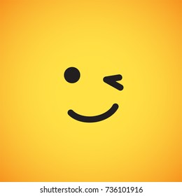 Yellow emoticon face (winking), vector illustration