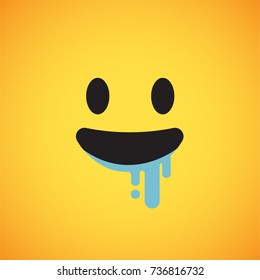 Yellow emoticon face (with saliva), vector illustration