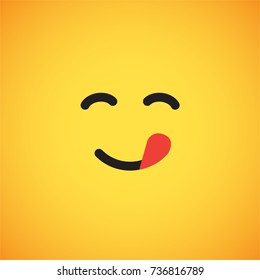 Yellow emoticon face (yummy), vector illustration