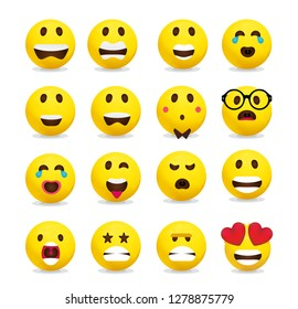 Yellow emoticon set collection 2