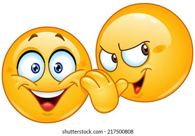 Yellow emoticon telling a secret to another