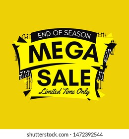 Yellow end of season mega sale banner with Microelectronics Circuits on yellow background