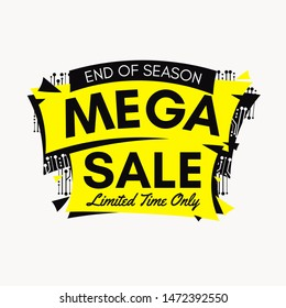 Yellow end of season mega sale banner with Microelectronics Circuits on white background