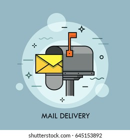 Yellow envelope in opened mailbox. Express mail delivery, courier and postal service, postage and spam concept. Creative vector illustration for brochure, presentation, print, website banner, poster.