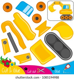 Yellow excavator. Digger. Education paper game for preshool children. Vector illustration.