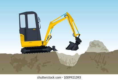 Yellow excavator digs hole. Bagger is excavating, ground works. Construction machinery in action. Construction machine works on foundation. Flatten banner, illustration master vector.