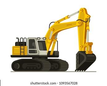 yellow excavator heavy equipment construction machinery vector illustration