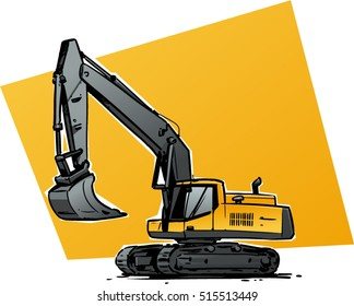 Yellow excavator illustration