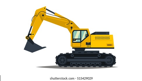 Yellow excavator. Isolated on white background. Special equipment. Construction machinery. Vector illustration.
