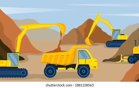 Yellow excavator pours sand into the dump truck on construction site. Concept of professional machinery to make construction work easier. Flat cartoon vector illustration