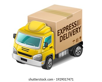 Yellow express delivery truck. Vector Illustration.