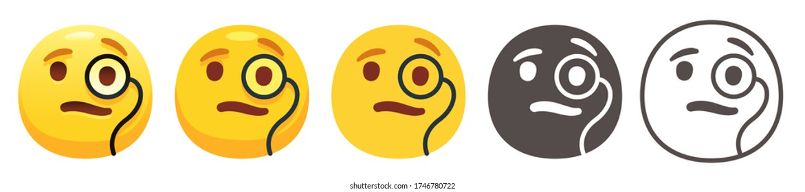 Yellow face with Monocle with furrowed eyebrows. Intelligent emoji and smug emoticon flat vector icon set