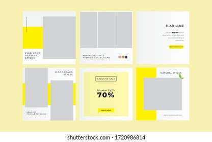 yellow fashion banner post promotion collection for social media templates