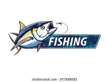 Yellow fin tuna fishing on white logo illustration. Vector illustration can be used for creating logo and emblem for fishing club.