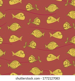Yellow fish seamless vector pattern on rusty background. Sealife surface print design. For fabrics, textiles, stationery, and packaging.