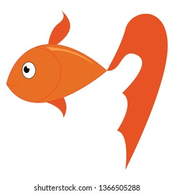 Yellow fish swimming under the water vector or color illustration