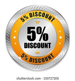 Yellow five percent discount button