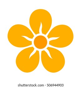 Yellow five petal flower blossom or bloom flat vector color icon for apps and websites