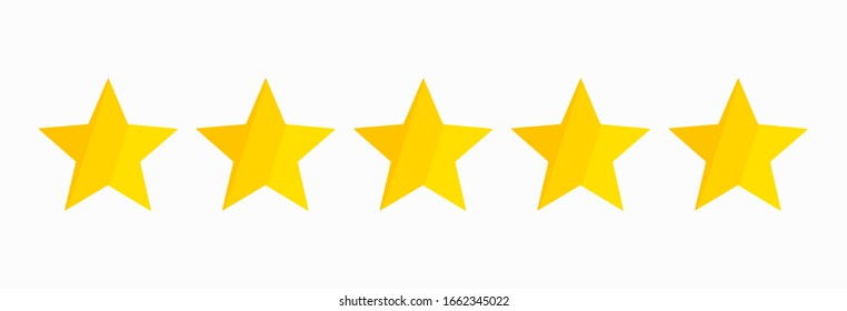 Yellow five stars quality rating icon isolated on white. Vector illustration.