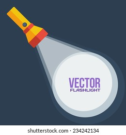 Yellow flashlight in vector flat style on dark background