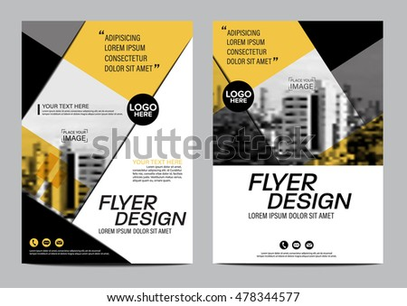 yellow flat modern brochure layout design stock vector royalty free