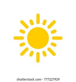 Yellow flat vector sun icon