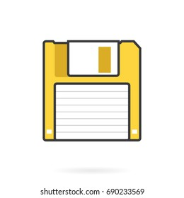 Yellow Floppy Disk Web Simple Graphic Icon