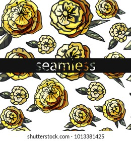 Yellow floral seamless background