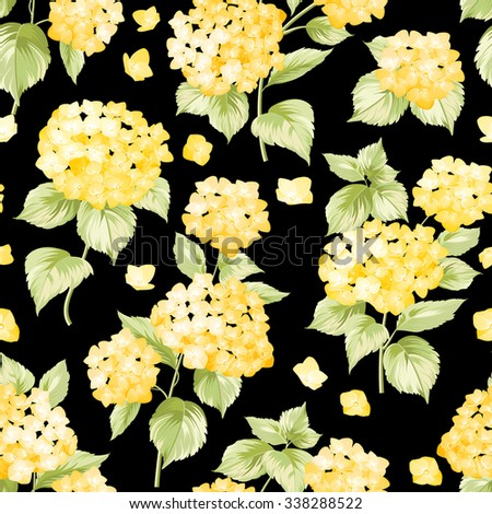 Yellow flower pattern hydrangea flowers seamless stock vector yellow flower pattern of hydrangea flowers seamless texture pink flowers vector illustration mightylinksfo