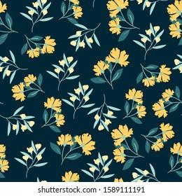 Yellow flower seamless pattern background