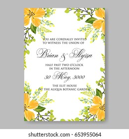 Yellow flowers Peony wedding invitation template Vector floral card.
