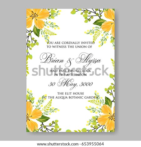 Yellow Flowers Peony Wedding Invitation Template Stock Vector