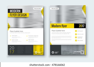 Yellow flyer. Corporate business annual report brochure flyer design. Leaflet cover presentation. Flier with Abstract geometric background. Modern publication poster magazine, layout template A4