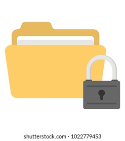 Yellow folder and padlock. Data encryption concept, flat vector icon