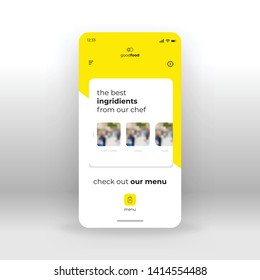 Yellow food ingridients UI, UX, GUI screen for mobile apps design. Modern responsive user interface design of mobile applications including restraurant menu screen