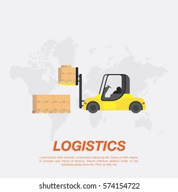 Yellow forklift loading boxes on a pallet. Logistic concept flat vector illustration for business in the background of the world map.